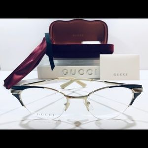 Gucci Women's Eyeglasses Gold w/ Brown Metal Cat